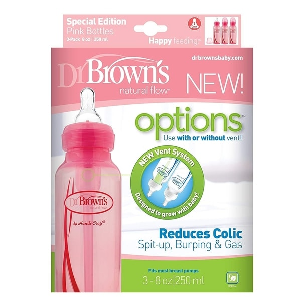 Dr. Brown's Natural Flow Options Baby Bottles, 3 Pack, Pink, 8 Oz