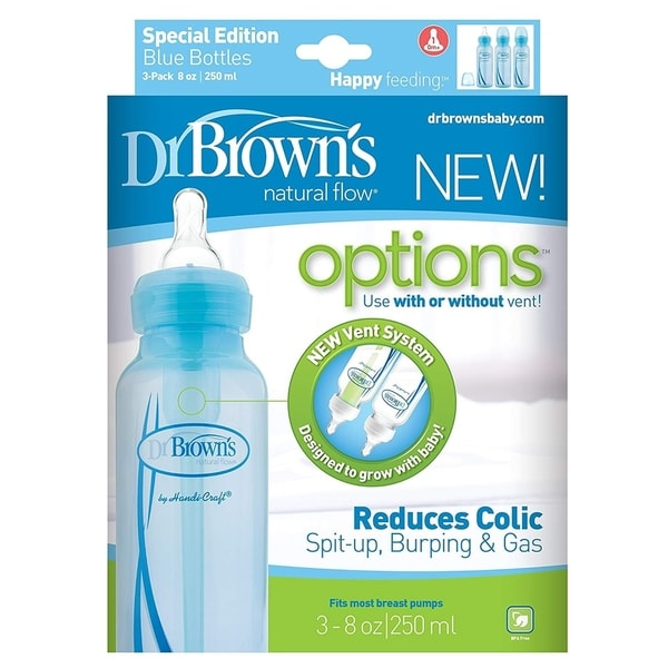Dr. Brown's Natural Flow Options Baby Bottles, 3 Pack, Blue, 8 Oz