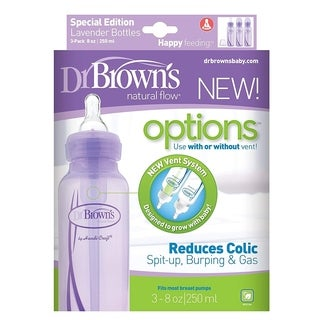 Dr. Brown's Natural Flow Options Baby Bottles, 3 Pack, Purple, 8 Oz