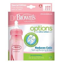 Dr. Brown's Natural Flow Options Baby Bottles, 3 Pack, Pink, 4 Oz