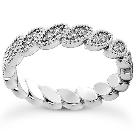Pompeii3 Platinum 1/3 Ct TDW Diamond Eternity Ring Womens Stackable Wedding Band