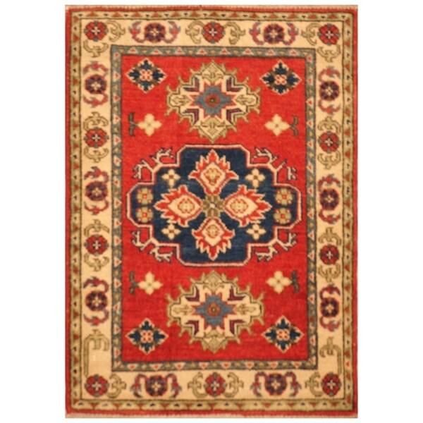 Handmade Kazak Wool Rug (Afghanistan) - 2'2 x 3'