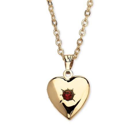 Gold Tone Heart Photo Locket Pendant (13mm) Birthstones
