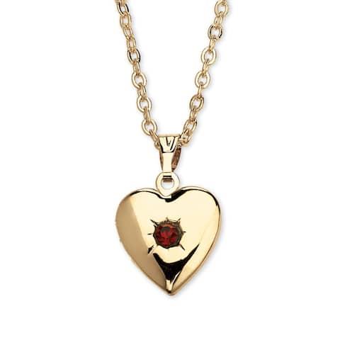 Gold Tone Heart Photo Locket Pendant (13mm) Birthstones