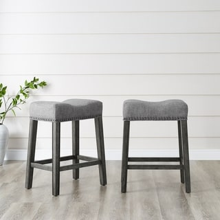 "CoCo Upholstered Backless Saddle Seat Counter Stools 24"" height in Grey - Set of 2 (As Is Item)"