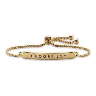"Yellow Gold-Plated ""Choose Joy"" Drawstring Bracelet 10"" Adjustable"