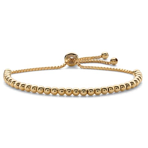 """Yellow Gold-Plated Strand Bracelet (4mm), 10"""" Adjustable"""
