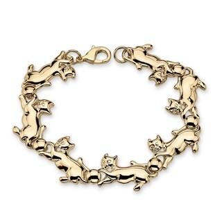"Gold Tone Cat Chase Charm Bracelet (13mm), 8"""