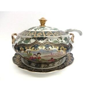 Antique Royal Green & Gold Porcelain Turren w/ Lid & Ladle