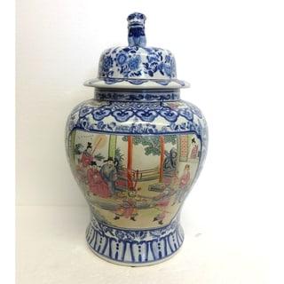 Blue & White w/ Famille Porcelain Temple Jar
