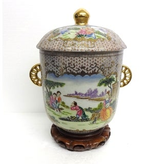 Royal French Porcelain Cover jar w/ Wood Stand