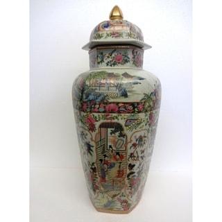 Hex. Rose Medallion Temple Jar