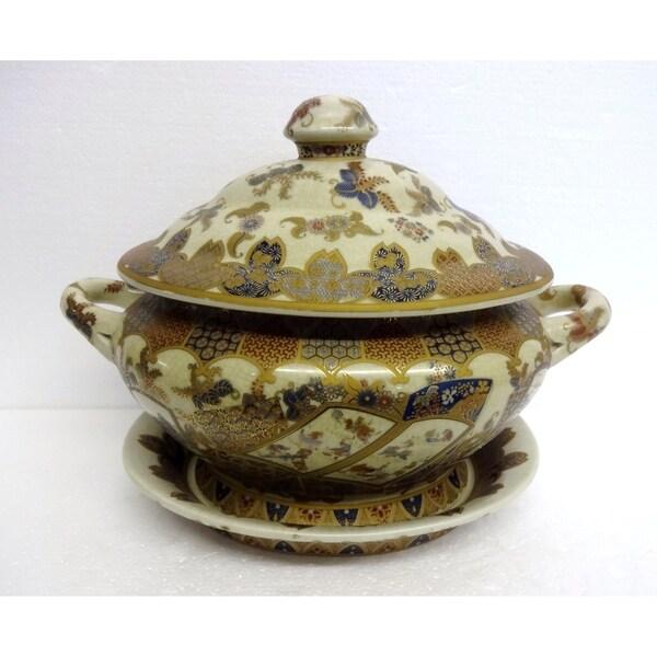 Royal Gold Tone Porcelain Decorative Tureen