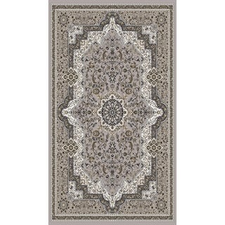 "Gray Cream Traditional Rugs 5x8 - 5'4"" x 7'5"""