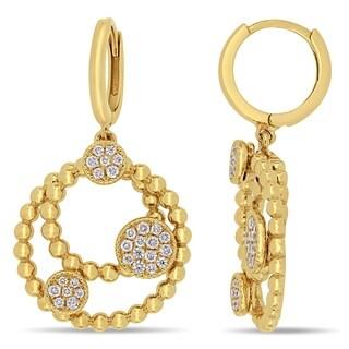 Miadora 14k Yellow Gold 1/3ct TDW Diamond Circle Cluster Beaded Hoop Earrings