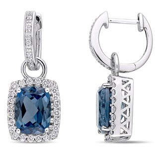 Miadora Signature Collection 14k White Gold London Blue Topaz and 1/2ct Diamond Halo Leverback Earrings