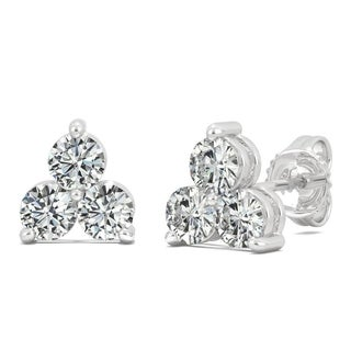 Moissanite by Charles & Colvard Sterling Silver 1.0 DEW Three Stone Triangle Stud Earrings