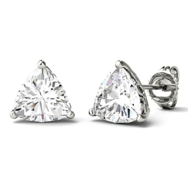 51ea21237 Moissanite by Charles & Colvard 14k White Gold 1.0 DEW Trillion  Solitaire Stud Earrings