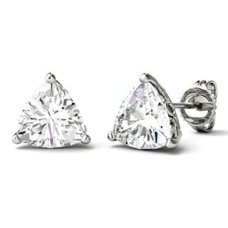 Moissanite by Charles & Colvard 14k White Gold 1.0 DEW Trillion Solitaire Stud Earrings
