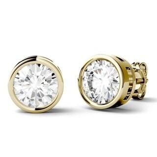 Moissanite by Charles & Colvard 14k Gold 1.0 DEW Bezel Stud Earrings