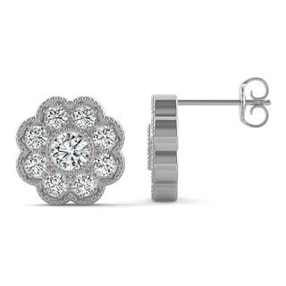 Moissanite by Charles & Colvard 14k White Gold 0.80 DEW Floral Halo Earrings