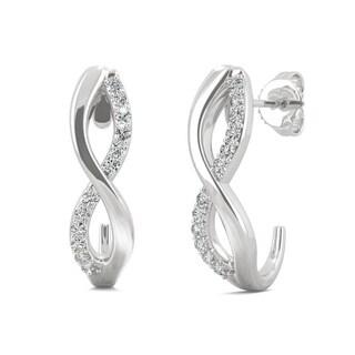 Moissanite by Charles & Colvard 14k White Gold 0.16 DEW Infinity J-Hoop Earrings