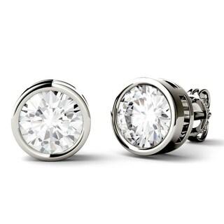 Moissanite by Charles & Colvard 14k White Gold 1.0 DEW Bezel Stud Earrings