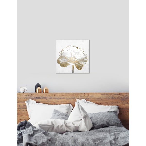Oliver Gal 'White Love Peony Gold' White Floral and Botanical Wall Art Canvas Print - gold, gray