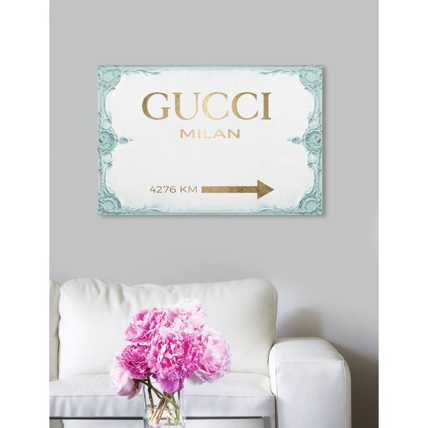 Shop Oliver Gal  Milan Sign Aqua  Turquoise Fashion and Glam Wall ... 76c1f7a04