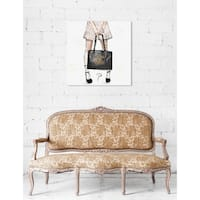 Oliver Gal 'Pily Montiel - Tweed Girl' Pink Fashion and Glam Wall Art Canvas Print - gray