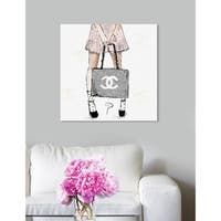 Oliver Gal 'Pily Montiel - Tweed Girl Rose' Pink Fashion and Glam Wall Art Canvas Print - gray