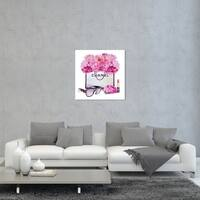 Oliver Gal 'Hot Pink Floral Fashion Bag' Fashion and Glam Wall Art Canvas Print