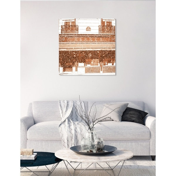 Oliver Gal 'France Luxe Boutique' Cities Wall Art Canvas Print - Orange
