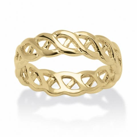 Yellow Gold-Plated Braided Link Ring (5mm)