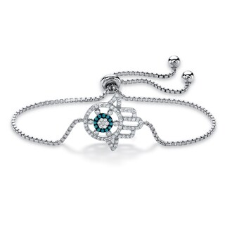 Sterling Silver Strand Bracelet Turquoise Glass and Cubic Zirconia