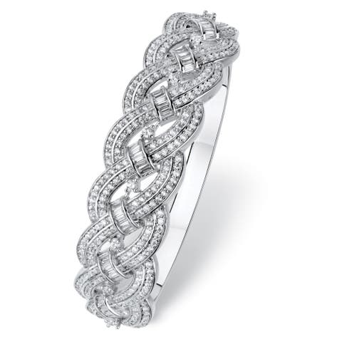 Platinum-Plated Baguette Bangle Bracelet Cubic Zirconia