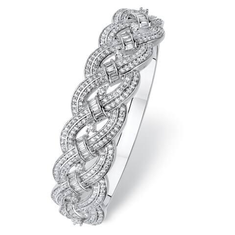 Platinum-Plated Baguette Bangle Bracelet Cubic Zirconia