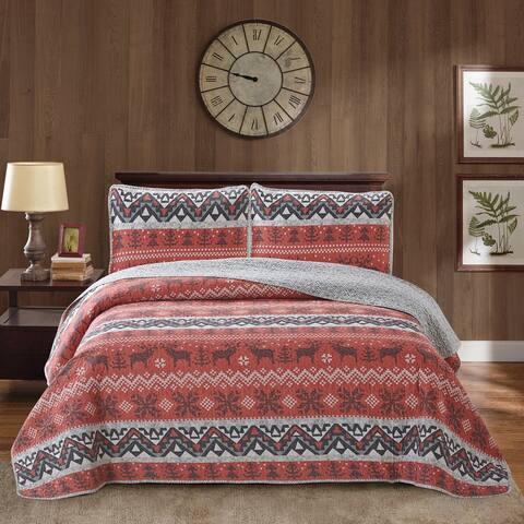 Harper Lane Moose Land Reversible 4-piece Quilt Set