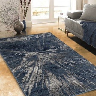 "Allstar Rugs Distressed Blue and Navy Blue Rectangular Accent Area Rug with Grey Abstract Design - 4' 11"" x 7' 0"""