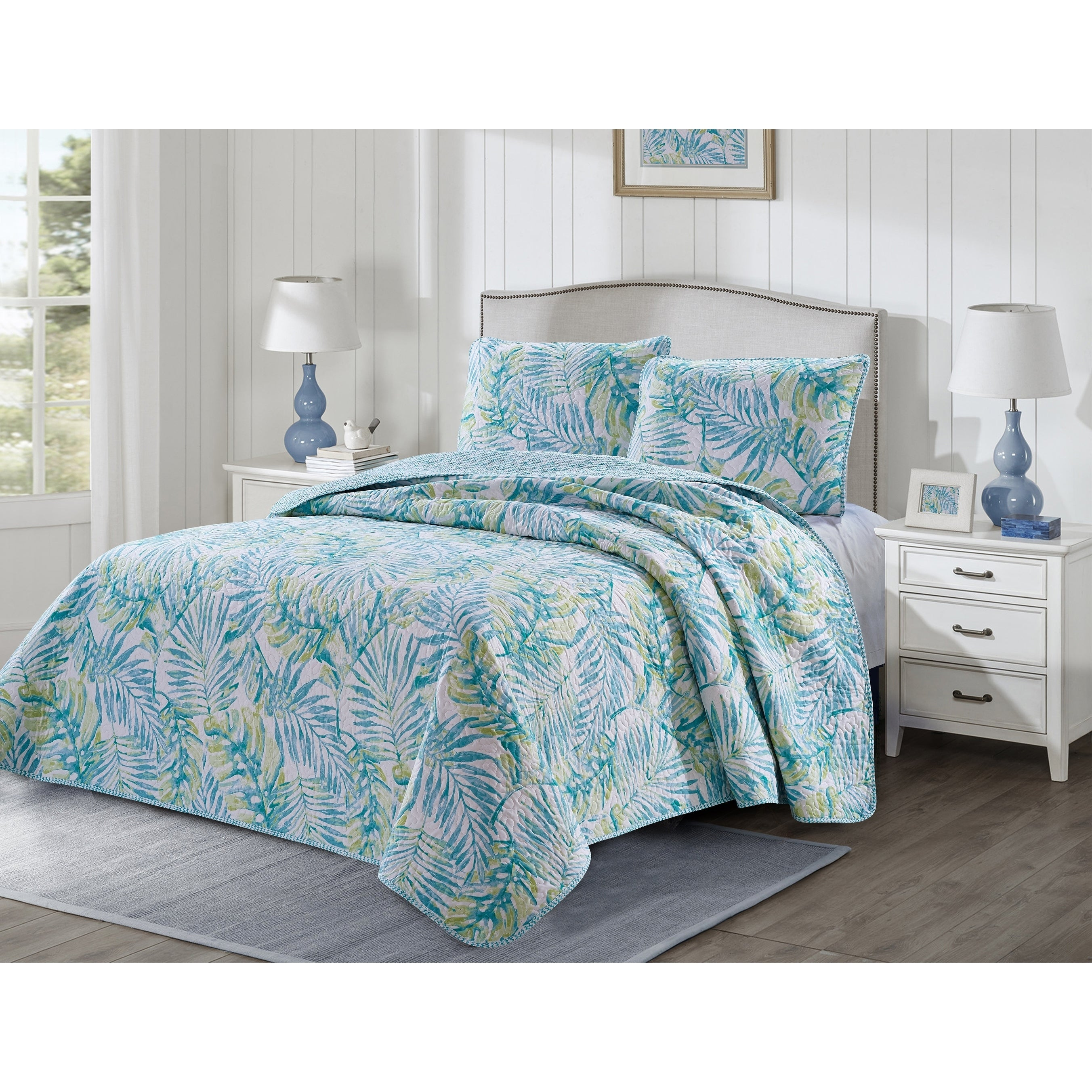 Tropical Teal, King 6 Piece Pinsonic Printed Bedding Bedspread Coverlet Quilt Sheet Set