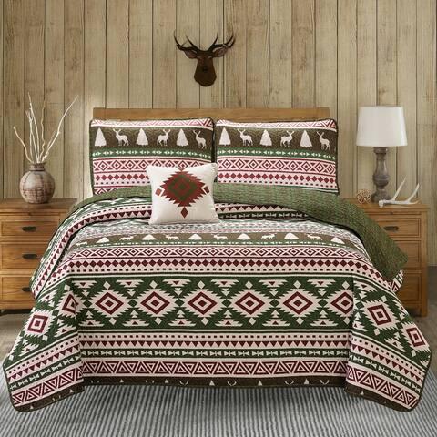 Harper Lane Deer Forest Reversible 4-piece Quilt Set