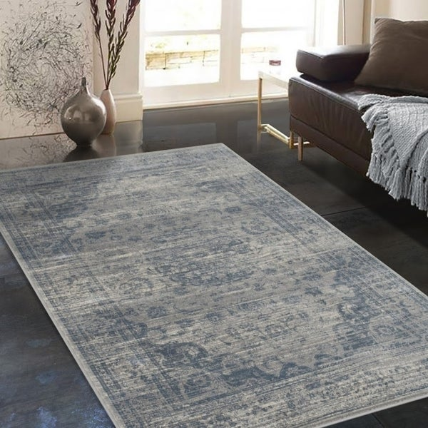 Shop Allstar Rugs Distressed Grey And Ivory Rectangular