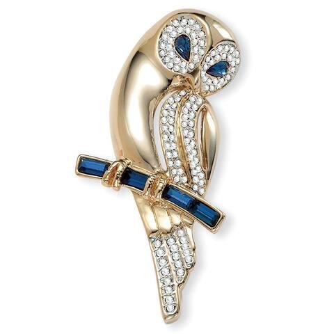 "Gold Tone Owl Pin Pear Cut Simulated Blue Sapphire 2.5"" length"