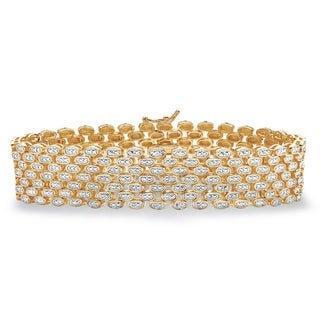 """Link to Yellow Gold-Plated Link Bracelet (19mm), Genuine Diamond Accent 7.25"""" Similar Items in Bracelets"""