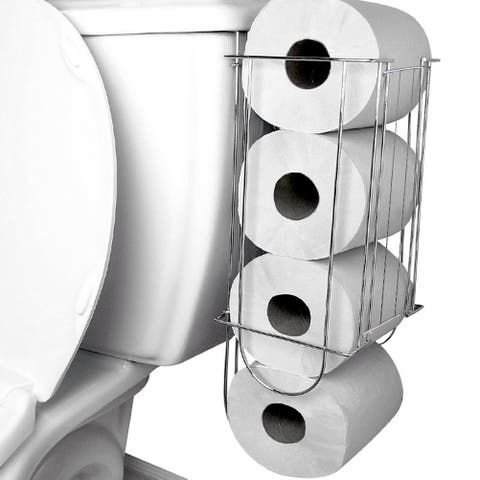 Evelots Toilet Paper Holder-Side of Tank-4 Tissue Rolls-Easy to Install-Chrome
