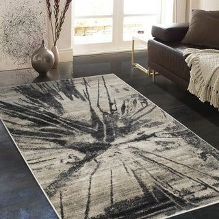 """Allstar Rugs Distressed Beige and Ivory Rectangular Accent Area Rug with Grey Abstract Design - 4' 11"""" x 7' 0"""""""