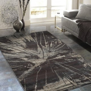 """Allstar Rugs Distressed Espresso and Black Rectangular Accent Area Rug with Beige Abstract Design - 4' 11"""" x 7' 0"""""""