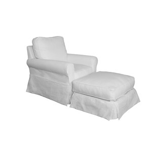 Sunset Trading Horizon Box Cushion Chair and Ottoman Slipcover Set, Performance White - N/A