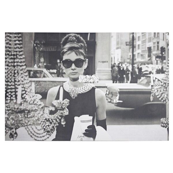 a84a24c208e01 American Art Decor Audrey Hepburn Breakfast at Tiffany  x27 s Canvas Art -  Black