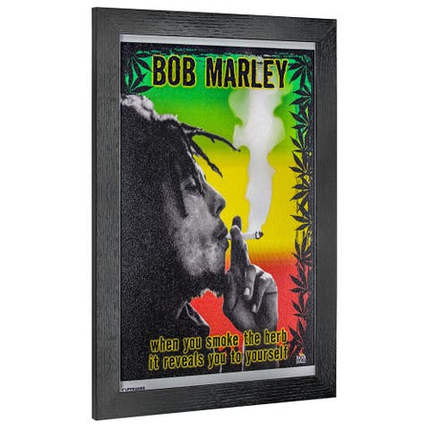 American Art Decor Bob Marley Smoke the Herb Framed Wall Art - Multi-color